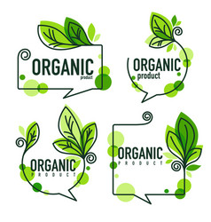 collection of doodle organic leaves emblems vector image