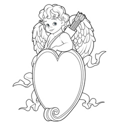 Cupid over a heart shape sign coloring page vector