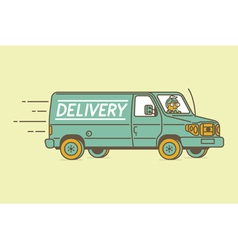 Delivery van and delivery man vector image vector image