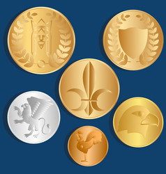 different metal coins blue background vector image vector image