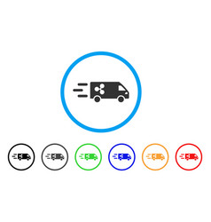 Fast ripple delivery car rounded icon vector
