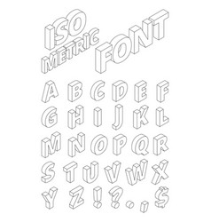 isometric english letters in linear style vector image vector image