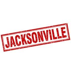 Jacksonville red square grunge stamp on white vector