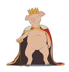 Pig king vector