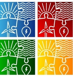 renewable energy sign logo set vector image