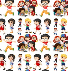 Seamless background with boys and girls vector