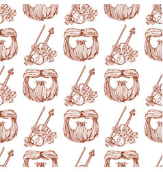 Seamless pattern with a violin and a beard vector