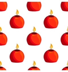 Seamless pattern with burning candle vector image