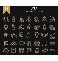 Set flat line icons usa and america vector