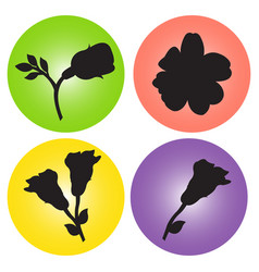 set of icons with the image of flowers vector image vector image