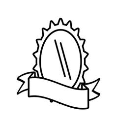 Shield gear wheel design outline empty vector