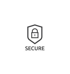 Shield line icon privacy data protection and vector
