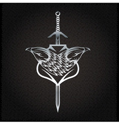Silver eagle with swords crest on metal background vector