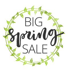spring sale hand written inscription vector image