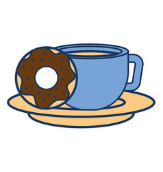 sweet donut with coffee cup vector image