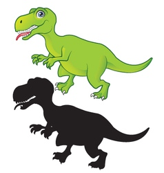T rex cartoon and silhouette vector