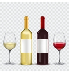 Two bottles and glasses of wine - red white vector