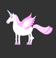 Unicorn isolated mythical horse with horns and vector