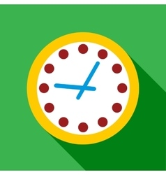 Wall clock with yellow edging icon flat style vector