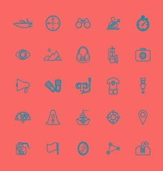 Waterway related line color icons vector