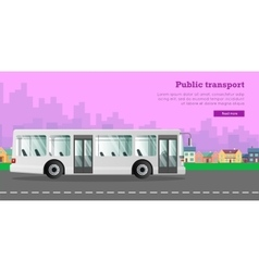 White urban public transport in the big city vector