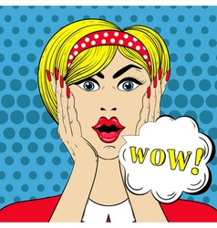Wow face in pop art style surprised scared woman vector