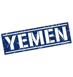 Yemen blue square stamp vector
