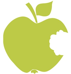 Bitten apple green silhouette vector