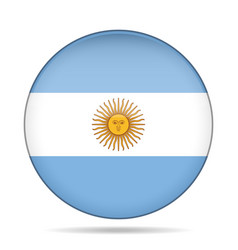Button with flag of argentina vector