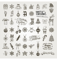 Set of hand drawn artistic christmas doodle icons vector