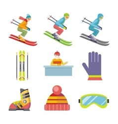 Set of Winter Sport Icons in Flat Design vector image