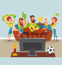 Cartoon family watching a football match on tv vector