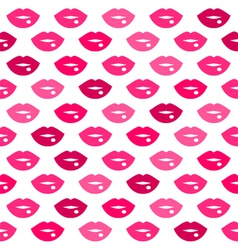 Cute fun pink lips kiss seamless pattern vector
