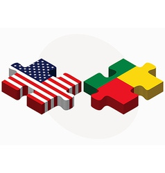 Usa and benin flags in puzzle vector