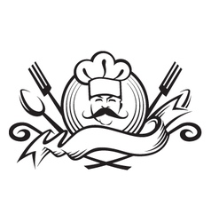 Monochrome chef design vector