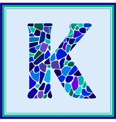K - letter - green watercolor mosaic vector