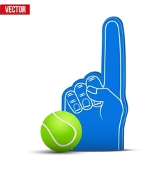 Tennis sports fan foam fingers and ball vector