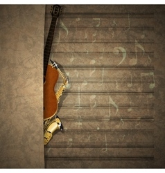 Musical background sax and guitar on sheet music vector