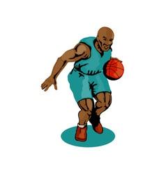 Basketball player dribbling vector