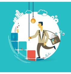 Businessman runs up the career ladder with ideas vector image vector image