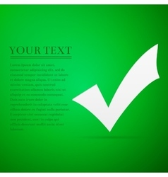 Check mark flat icon on green background adobe vector