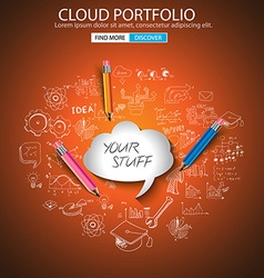 Cloud computing concept with doodle skeches vector image