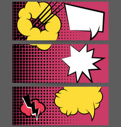 Comic balloon horizontal pink web banner vector