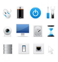 computers icon set vector image vector image