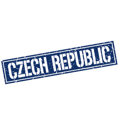 Czech republic blue square stamp vector