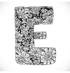 Doodles font from ornamental flowers - letter e vector