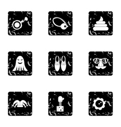 Funny joke icons set grunge style vector