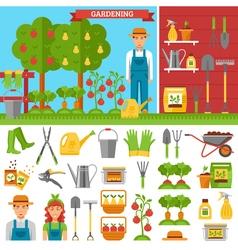 Growing vegetables and fruits in garden vector