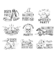 halloween holiday night party sketch icon vector image