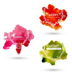 hand drawn watercolor christmas logo designs vector image vector image